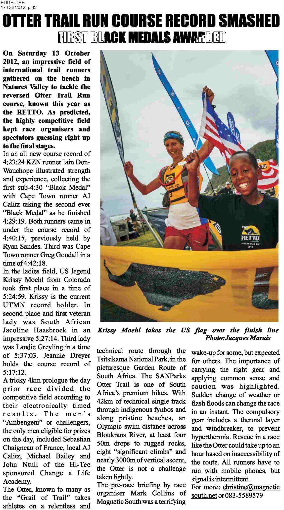 Krissy Moehl Otter Trail Run Race Report